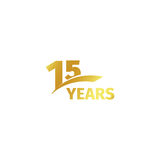 Isolerad abstrakt guld- 15th årsdaglogo på vit bakgrund logotyp för 15 nummer Femton år jubileum Royaltyfri Bild