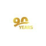 Isolerad abstrakt guld- 90th årsdaglogo på vit bakgrund logotyp för 90 nummer Nittio år jubileumberöm Fotografering för Bildbyråer