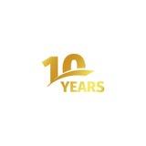 Isolerad abstrakt guld- 10th årsdaglogo på vit bakgrund logotyp för 10 nummer Tio år jubileumberöm Arkivfoton