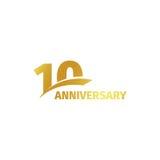Isolerad abstrakt guld- 10th årsdaglogo på vit bakgrund logotyp för 10 nummer Tio år jubileumberöm Royaltyfri Bild