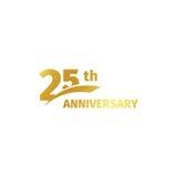 Isolerad abstrakt guld- 25th årsdaglogo på vit bakgrund logotyp för 25 nummer Tjugofem år jubileum royaltyfri illustrationer