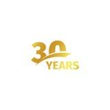 Isolerad abstrakt guld- 30th årsdaglogo på vit bakgrund logotyp för 30 nummer Trettio år jubileumberöm Arkivbilder