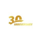 Isolerad abstrakt guld- 30th årsdaglogo på vit bakgrund logotyp för 30 nummer Trettio år jubileumberöm Arkivfoton