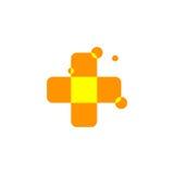 Isolerad abstrakt orange färgkorslogo Medicinsk logotyp Sjukhus ambulans, kliniksymbol Geometrisk formmosaik Royaltyfria Bilder
