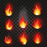 Isolerad abstrakt röd och orange uppsättning för logo för färgbrandflamma på svart bakgrund Realistisk varm lägereldlogotyp Fotografering för Bildbyråer