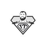 Isolerad abstrakt svartvit IT-manlogo Toppen datorhjältelogotyp Komisk symbol Emblem för yrkesmässig programmerare Arkivbild