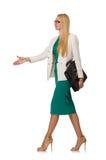 Isolerad affärskvinna i affärsidé Arkivbild