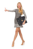 Isolerad affärskvinna i affärsidé Royaltyfri Bild