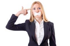 Isolerad affärskvinna i censurbegrepp Royaltyfria Bilder