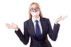 Isolerad affärskvinna i censurbegrepp Fotografering för Bildbyråer