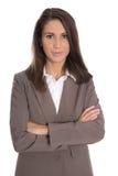 Isolerad affärskvinna som bär den bruna dräkten: affärsdräkt Royaltyfria Bilder