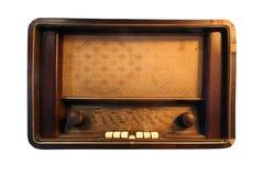 Isolerad antik radio-, tappning- och rektangelradio royaltyfri bild