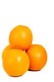 isolerad apelsin för 4 stycke Arkivbilder