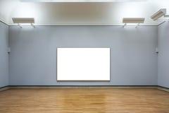 Isolerad Art Museum Frame Blue Wall utsmyckad minsta designvit royaltyfria foton