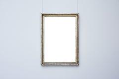 Isolerad Art Museum Frame Blue Wall utsmyckad minsta designvit fotografering för bildbyråer