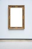 Isolerad Art Museum Frame Blue Wall utsmyckad minsta designvit arkivfoto