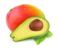 Isolerad avokado och mango royaltyfri bild
