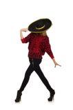 Isolerad bärande sombrero för rolig mexikansk kvinna Fotografering för Bildbyråer