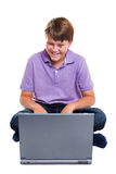 isolerad bärbar datorschoolboy Arkivfoton