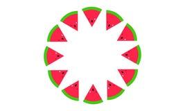 Isolerad bakgrund för vattenmelonskivor spiral royaltyfri illustrationer