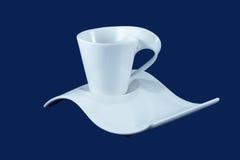 isolerad banasaucer för clipping kopp Royaltyfri Fotografi