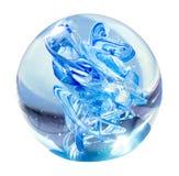 Isolerad blå glass boll Arkivfoton