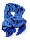 Isolerad blå halsduk av pashminaen arkivbild