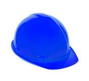 Isolerad blå hjälm för säkerhet för arbetare Arkivfoton