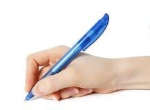 Isolerad blå penna Arkivfoto