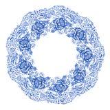 Isolerad blå rund blom- gzhelgarnering vektor illustrationer