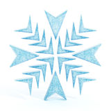 Isolerad blå snöflinga Arkivfoton