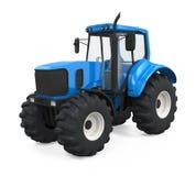 Isolerad blå traktor Royaltyfria Foton