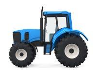Isolerad blå traktor Royaltyfri Foto
