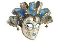 Isolerad blå Venetian maskering Royaltyfria Foton