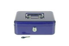 Isolerad blå moneybox Fotografering för Bildbyråer