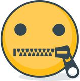 Isolerad blixtlåsförsedd munemoticon Isolerad emoticon stock illustrationer