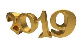Isolerad bokstäver 2019 för guld för mall för hälsningkortdesign Arkivbilder