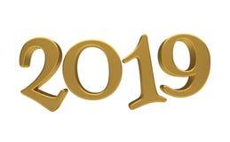 Isolerad bokstäver 2019 för guld för mall för hälsningkortdesign Arkivfoto