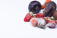Isolerad bortskämd jordgubbe Arkivfoto