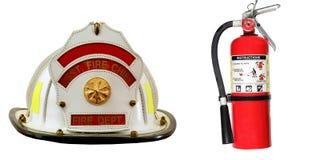 Isolerad brandsläckare- och brandmanhatt Fotografering för Bildbyråer