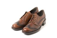 isolerad brown shoes white två Royaltyfri Fotografi