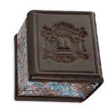 Isolerad brun läderbönbok Siddur som står upp på vit royaltyfri foto