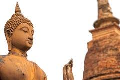 Isolerad Buddhastaty och pagod Arkivfoton