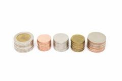isolerad buntwhite för bakgrund mynt Royaltyfria Bilder