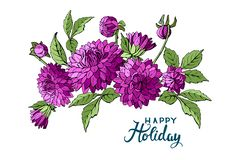 Isolerad buquet av purpurfärgade dahliablommor och lycklig feriebokstäver Mall för hälsningkortet, vektor vektor illustrationer