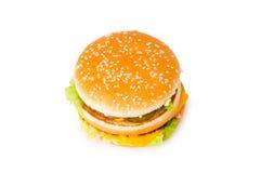 isolerad cheeseburgerdouble arkivfoton