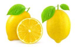 isolerad citron En hel citronfrukt och halva som isoleras på vit Arkivfoto