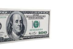 Isolerad closeup för dollarsedel pengar Royaltyfria Foton