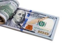 Isolerad closeup för dollarsedel pengar Fotografering för Bildbyråer