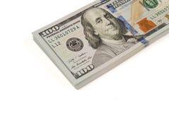 Isolerad closeup för dollarsedel pengar Arkivfoton